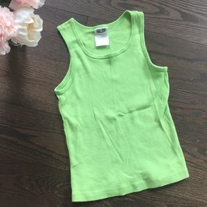 💚 Girl's Lime Green Ribbed Tank Top